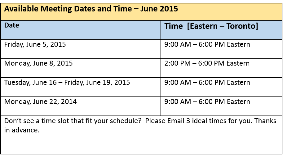 June Meeting Schedule 2015