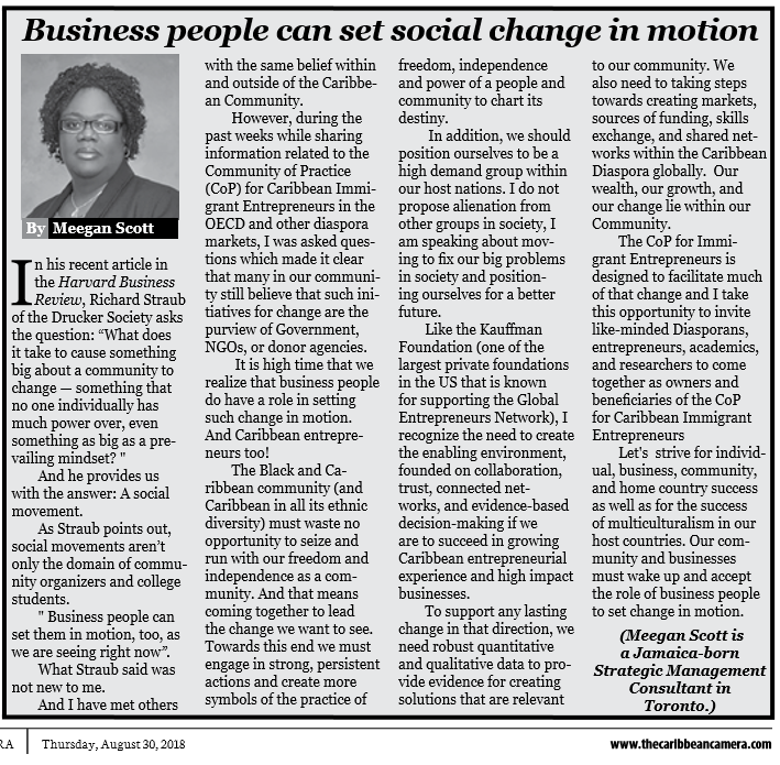 symbols of the practice of freedom, independence, and power of our people and communities  Caribbean small and large businesses can set change in motion