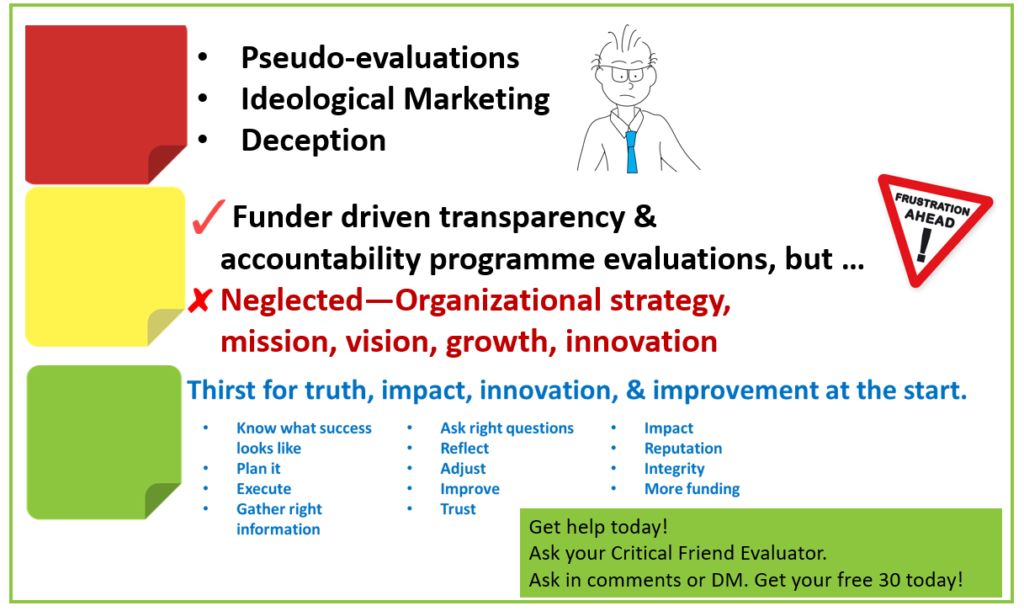 psuedoevaluations outtakes critical friend evaluator